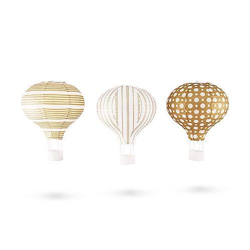 Lanterne en papier x 3 or et blanc