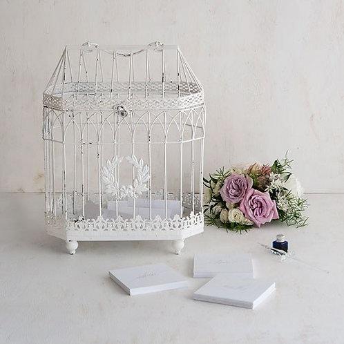 Cage à oiseau décorative blanche