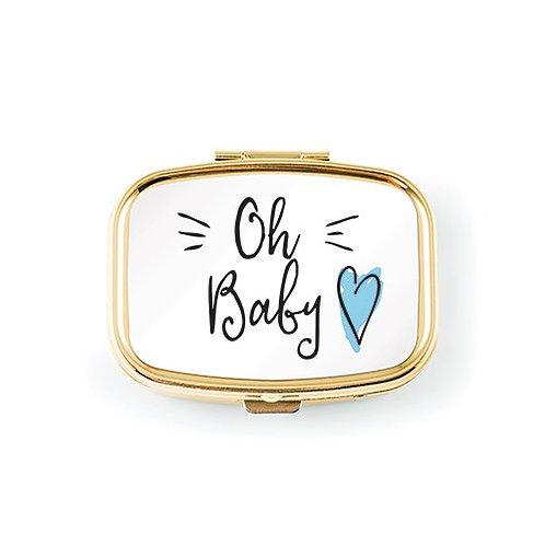 Mini étui de protection en métal pour dents de bébé - coeur bleu