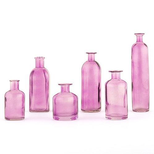 Ensemble de 6 bouteilles décoratives en verre - violet
