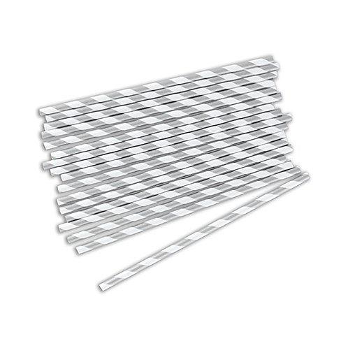 Pailles à rayures métallisées (x75)