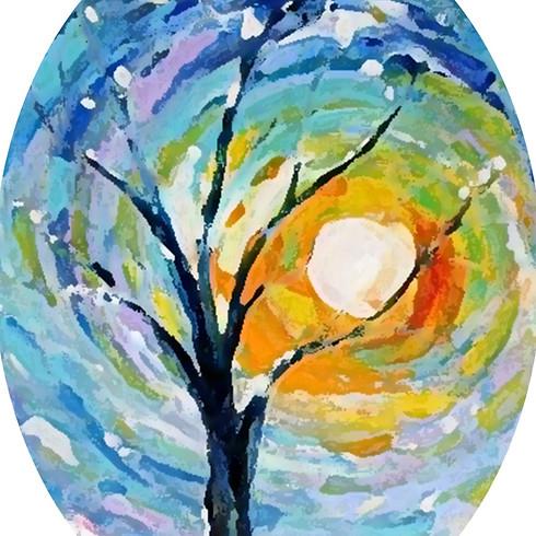 "Wine & Paint - Watercolor Resist Technique ""Winter Tree"""