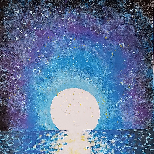 Wine & Paint - Ocean Night Sky