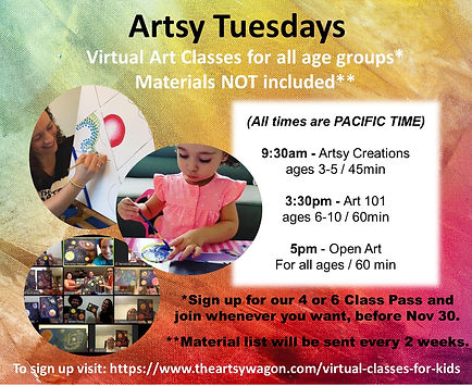 Virtual Art Classes for kids Sept-nov 20