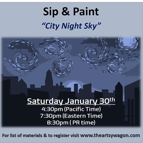 Sip & Paint - City Night Sky