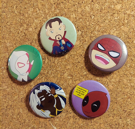 Chibi Marvel Button Set