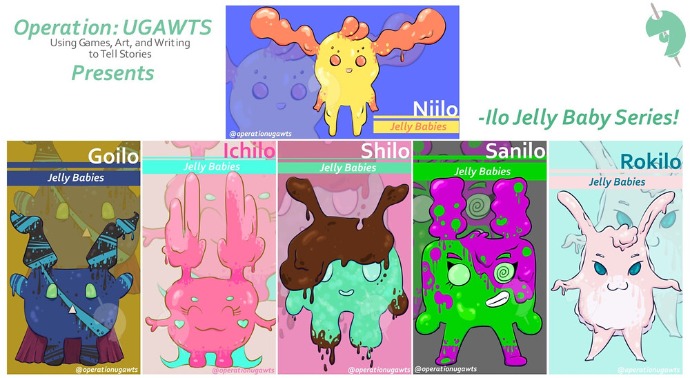 A promotional image displaying cards for my Ilo Jelly Monsters. Niilo is on top. Then on the bottom row is Goilo, Ichilo, Shilo, Sanilo, and Rokilo.