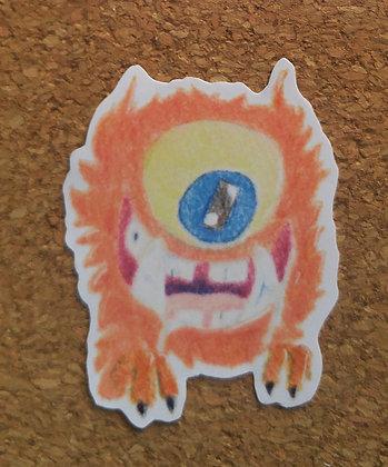 One-Eyed Orange Monster Sticker