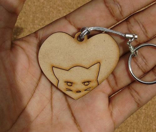 I Love Cats Wood Charm