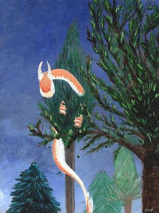 Orange Dragon in a Tree Print