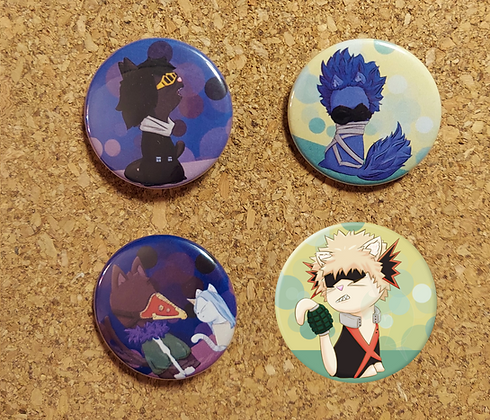 BNHA Cats Buttons