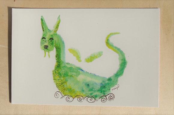 Abstract Green Dragon Print