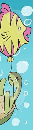 Turtle and Fish Balloon Bookmark