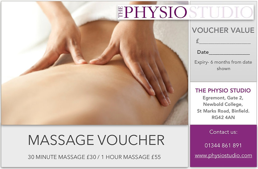 MASSAGE VOUCHER gift him her sports massage relaxation therapy
