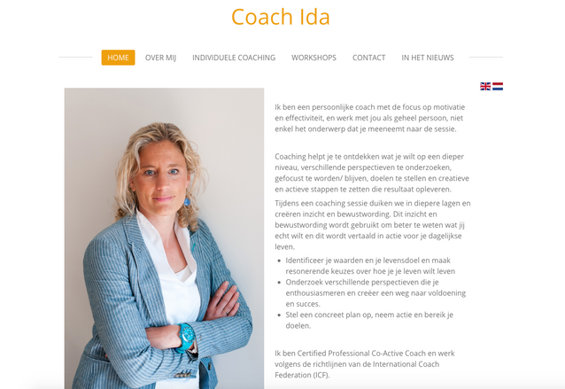 Website fotografie Coach Ida