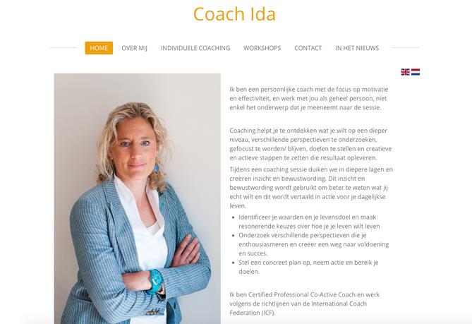 Website fotografie Coach Ida