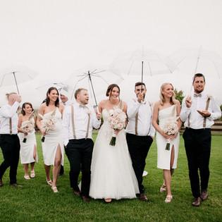 Happy Bridal Party walking through Zonzo Estate
