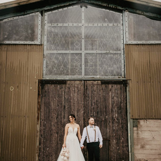 Newlyweds in front of their Wedding Chapel