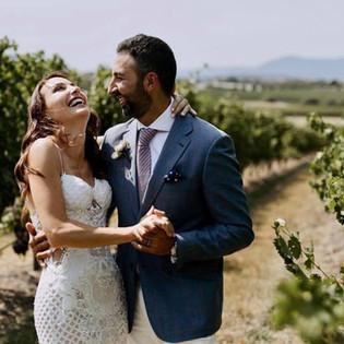 Yarra Glen Newlywed Couple walking through the fields