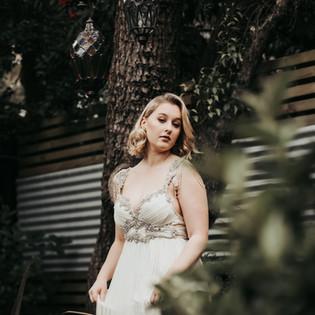 Young Bride in her garden