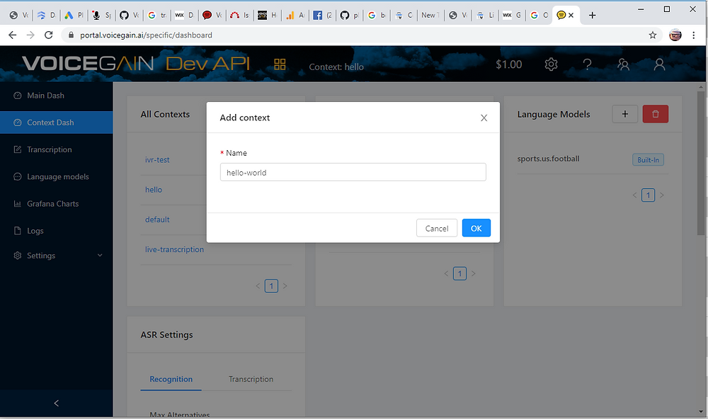 Creating new Context in Voicegain Web Portal