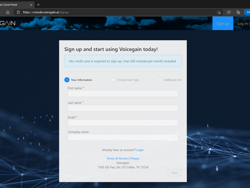 How to signup for a developer account and start using Voicegain Voice AI