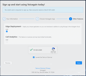 Voicegain signup - choose additional features