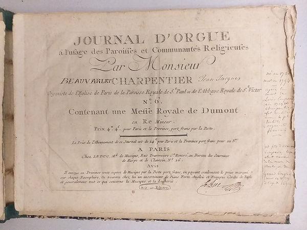 Journal d'orgue de Jean-Jacques Beauvarl