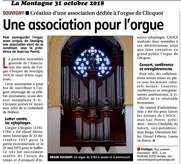 Une association pour l'orgue, La Montagne, 31 octobre 2018