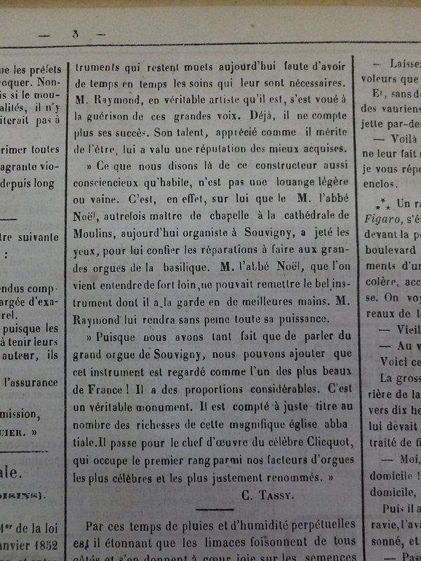Mémorial de l'Allier 5 décembre 1872
