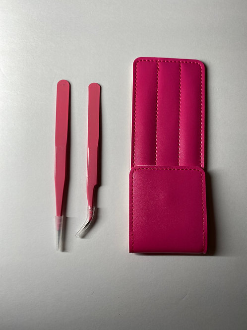 Pink Eyelash Extension Tweezers & Case