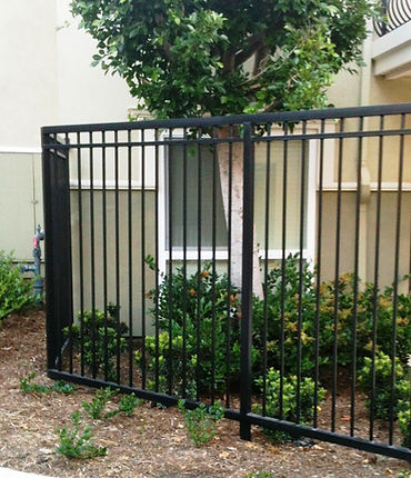 Contemporary styled fence powder coated black