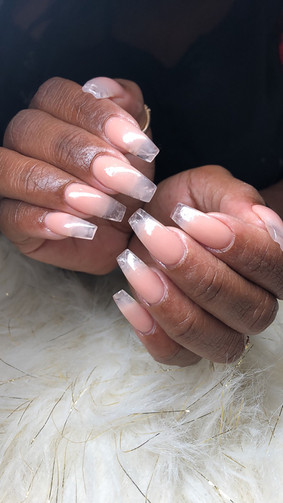 Pink and Clear Ombre Glass Tips