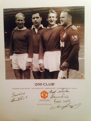 200 CLUB Lithograph - Signed by 3 United Players.
