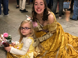 Evelyn Milburn as Belle with a little Bell