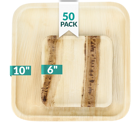 """Palm Leaf Plates 10"""" (25 count) and 6"""" (25 count) Bundle"""