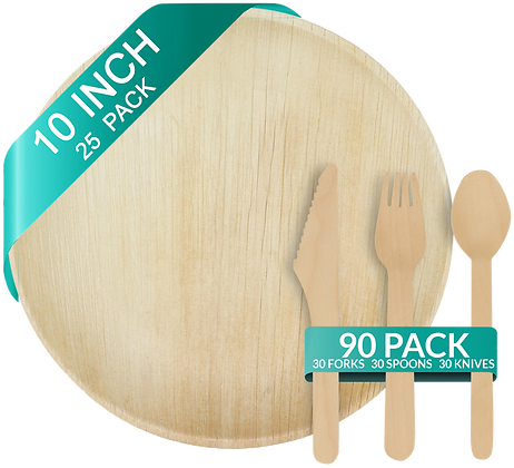 """Palm Leaf Plates 10"""" (25 count) and Wooden Cutlery (90 pcs) Bundle"""