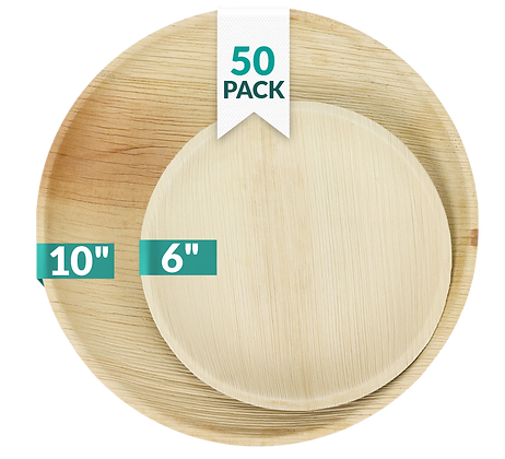 """Palm Leaf Plates Round 10"""" (25 count) and 6"""" (25 count) Bundle"""