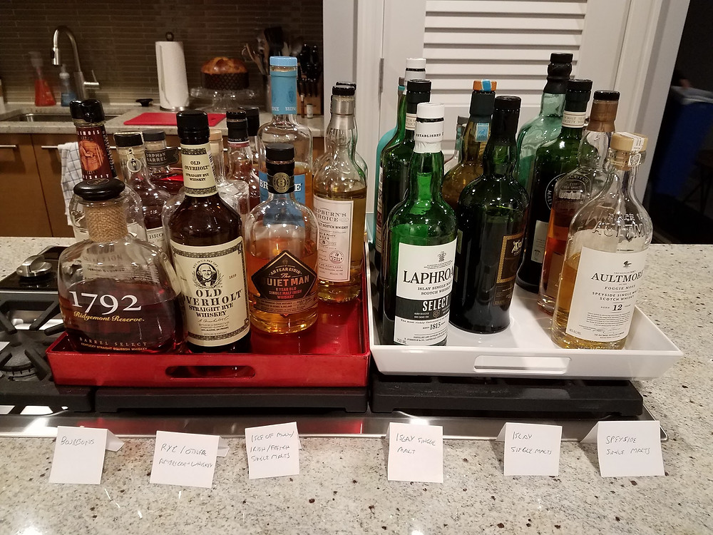 A selection of various whiskey bottles from a recent party
