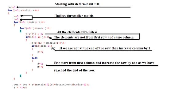Determinant of a matrix using recursion