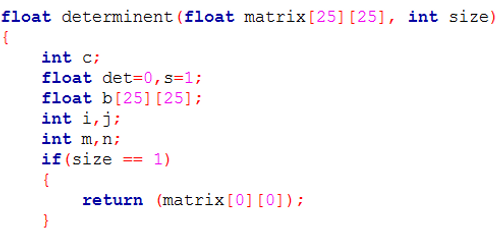 Determinant of a matrix using recursion