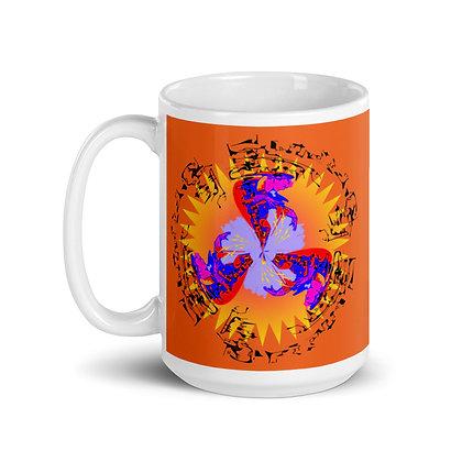 Mug Blanc Brillant CIRCLEMISTERY orange
