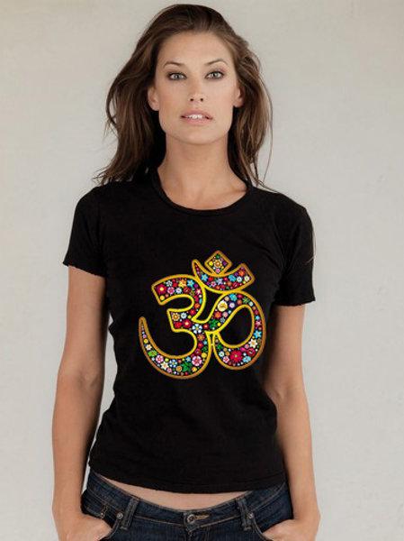 Black Om Cotton T-Shirt