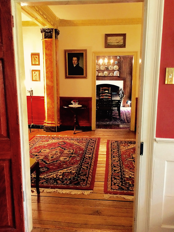 Through the hallway into the dining room
