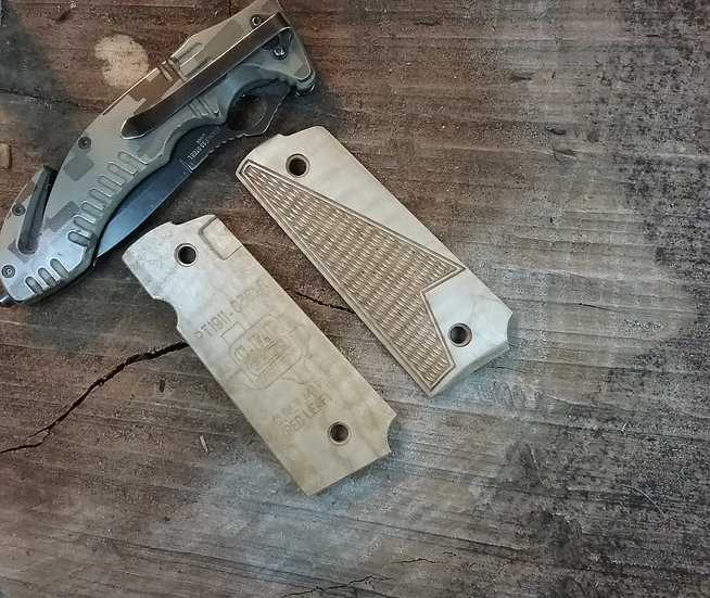 Taurus PT1911 - Curly Maple (Red Leaf) - Half Tactical Checkering Grips