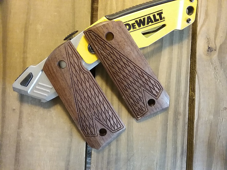 1911 Compact Size Officer Model - Walnut - Half Tactical Texture Grips
