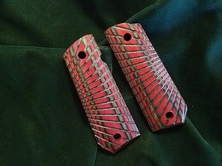 1911 - Full Size Bobtail Butt - Red - Charcoal - Tactical Radial Cut Grips