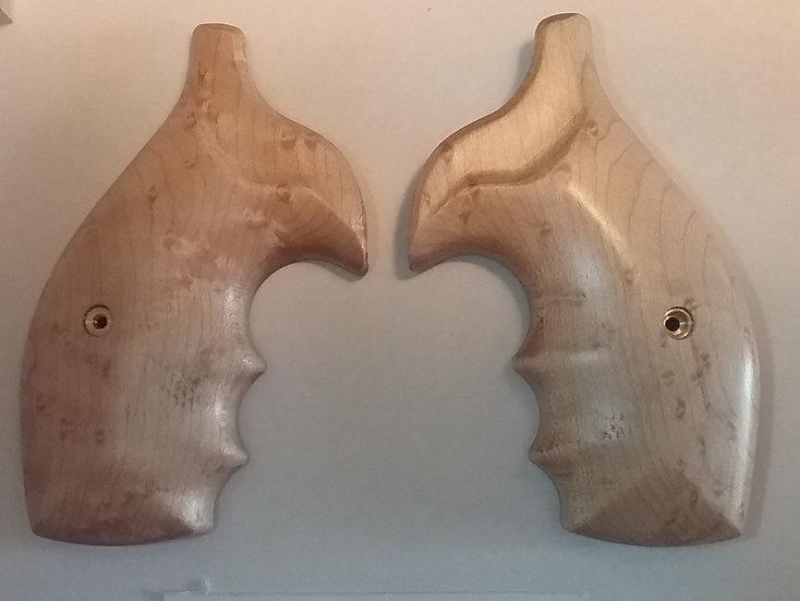 """S&W K/L-Frame """"Birdseye Maple"""" Finger Groove Revolver Grip - Round Butt Frame"""