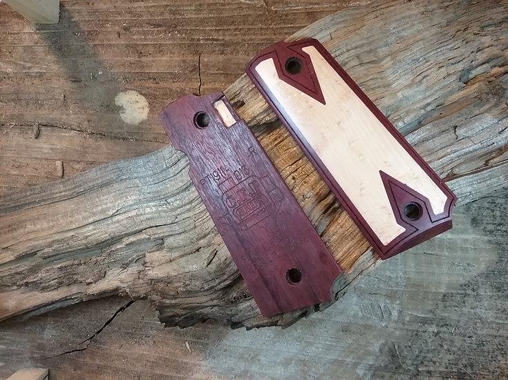 Taurus PT1911 - Purpleheart -Birdseye Maple -Inlay - Double Diamond Border Grips