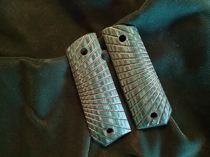 1911 - Full Size Bobtail Butt - Green - Tactical Radial Cut Grips
